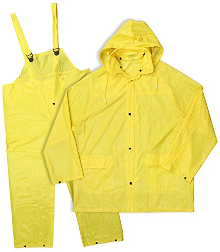 3 Piece Lined Rainsuit (Boss Rainwear 3PR0300YJ XXL Yellow Lined PVC Rainsuit 3 Piece)