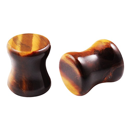Tiger Eye Ear Plugs Double Flared 0G Gauges 8mm x 2 set by BLING UNIQUE - Brass Estate Collection Single