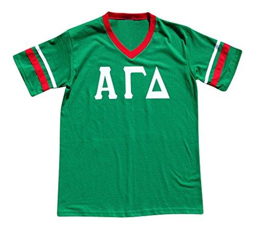 Mega_Greek Womens Alpha Gamma Delta Stripe Sleeve Jersey Large Green (T-shirt Alpha Jersey)