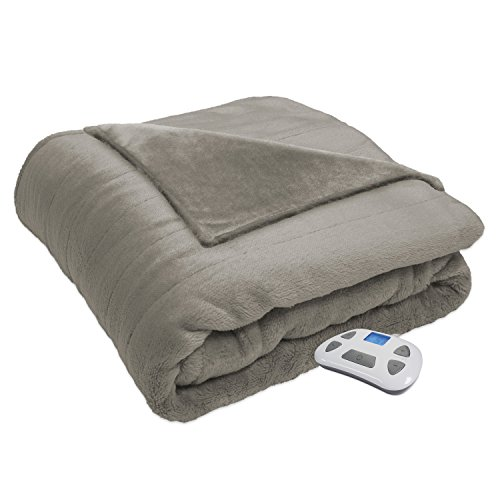 (Serta Heated Electric  Silky Plush Blanket with Programmable Digital Controller, Full, Sand Model 0917)
