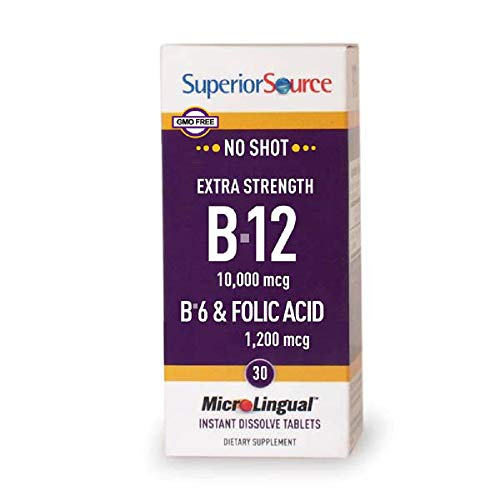 Superior Source No Shot Methylcobalamin Vitamin B12/B-6/Folic Acid Tablets, 10,000 mcg/1200 mcg, 30 Count