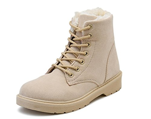 YCMDM Snow Boots inverno Martin Stivali Donne più velluto scarpe caldo cotone impermeabile grigio beige nero Brown 39 36 35 38 40 37 , beige , 39