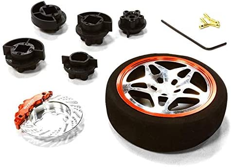 Integy RC Model Hop-ups C26406BLACKRED Dual 5 Spoke Steering Whe