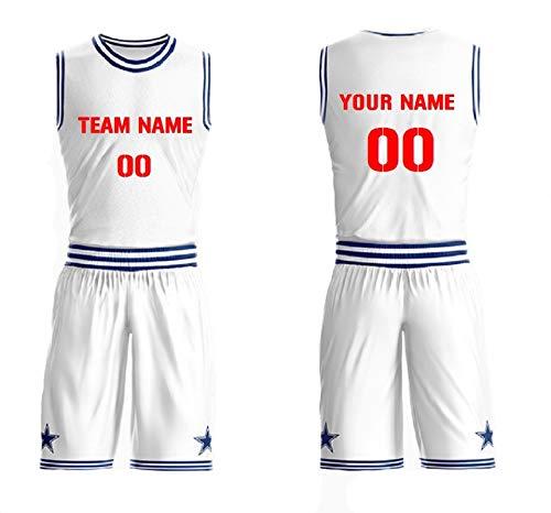 1dddabc3956 Front & Back Personalized Basketball Jersey Set Team Uniform Round Neck  (White+Blue)