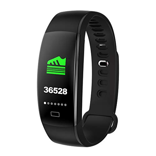 (Smart Watch Bracelet Heart Rate Blood Pressure Monitor Fitness Tracker Bluetooth (Black))