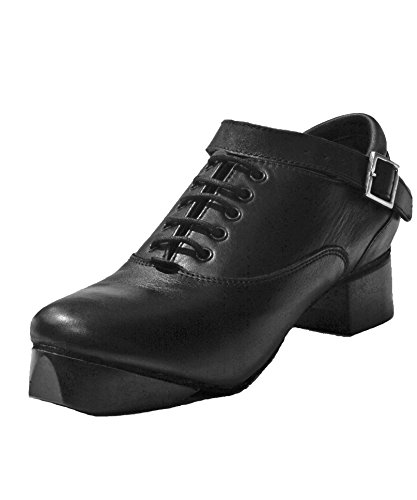 RYAN AND ODONNELL Evolution Unisex black leather Irish Dance Hard Shoes 9 Wide Fitting UK - With Free Drawstring Bag with Zip Pocket - by RYAN AND ODONNELL