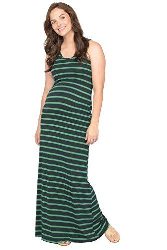 NOM Dylan Maternity Maxi Tank Dress - Navy/Green Stripe - X-Large