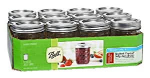 Ball 8-Ounce Quilted Crystal Jelly Jars with Lids and Bands, Set of 12