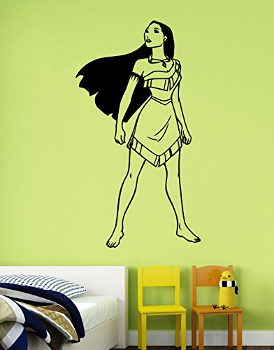 Pocahontas Wall Decal Removable Vinyl Sticker Disney Princess Art Decorations for Home Housewares Kids Girls Room Bedroom Nursery Cartoon Decor (Female Cartoon Characters Names)