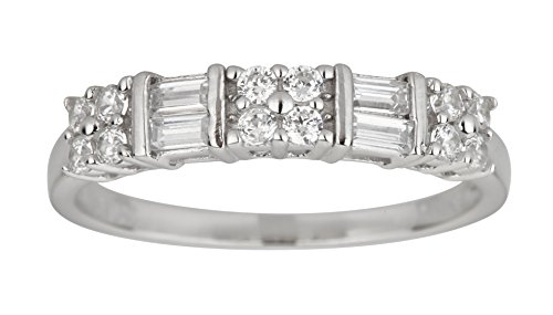 Sterling Silver Alternating Baguette & Round Cut Cubic Zirconia Anniversary Band (Alternating Baguette)