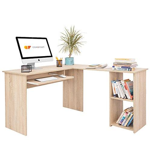 COMIFORT Escritorio Forma L - Mesa de Estudio con Estanteria de Estructura Firme, Moderna y Minimalista con 2 Baldas Espaciosas y de Gran Capacidad, Color Roble Sonoma