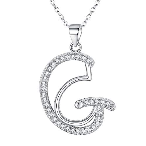 EVER FAITH 925 Sterling Silver CZ Cursive Initial Alphabet Letter G Adjustable Pendant Necklace Clear