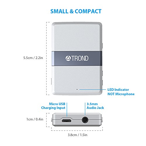 TROND 3.5mm Bluetooth V4.2 Audio Receiver Adapter With AptX Low Latency, Volume Control & Smart