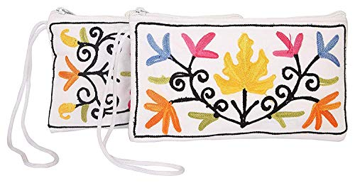 (Handmade Embroidered Kashmiri Antique Clutch Wristlet Indian Made Purse Organza Bag Wedding Gift Pouch (Set of two))