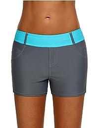 JooMeryer Womens Color Block Waistband Swim Board Shorts Plus Size S-XXXL