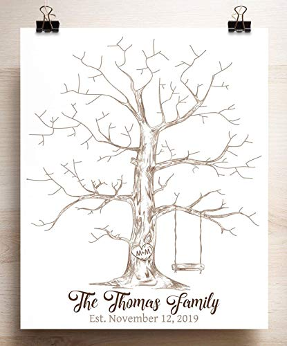 Wedding Guest Book Alternative Thumbprint Tree with Swing for Fingerprints]()