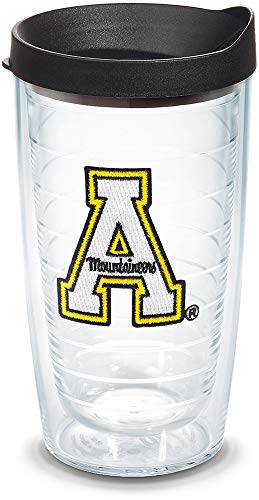 Tervis 1063931 Appalachian State Mountaineers Tumbler with Emblem and Black Lid 16oz, Clear ()