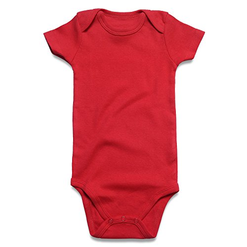 Red Infant Onesie - ROMPERINBOX Unisex Solid Red Baby Bodysuit 0-24 Months (0-3 Months, Red)