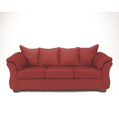 Set Sofa Microfiber Red (Ashley Furniture Signature Design - Darcy Contemporary Microfiber Sofa - Salsa)