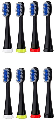 Pursonic 8 pack replacement Brush Heads for S750 (black) (Bling Dental Replacement Heads)