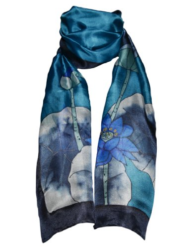 Hand-Painted 100% Silk Scarf - Lotus Flowers on Blue