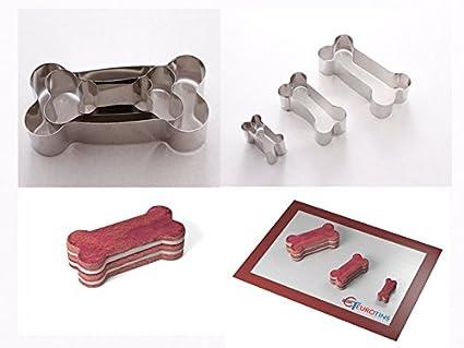 Euro Tins - Lote de 3 moldes para Cortar Galletas, diseño de Hueso