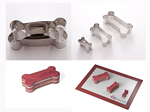 Dog Bone Shape Steel Cookie Cake Cutter 1 deep set of 3 - By Euro Tins by EURO TINS ()