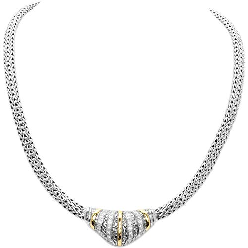 Deni Jewelry Sterling Silver and 18K Gold Hammer Necklace, Plaster Motif Collection, White Topaz Pave, Chain tulang naga Oval 4x6, Length ()