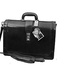 Mancini Black Lawyer/litigation Leather Briefcase