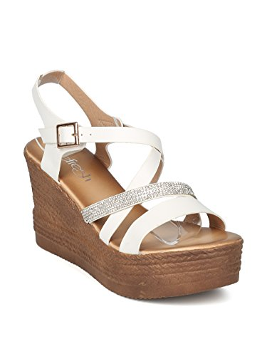 159fa66767 Alrisco Women Leatherette Rhinestone Strappy Platform Wedge Sandal HI29