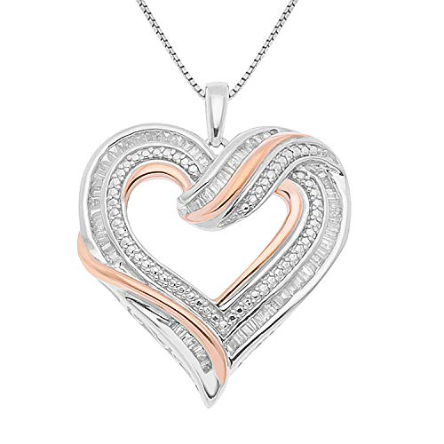 JewelExclusive Sterling Silver two-tone 1/2 CTTW Diamond Open Heart Pendant
