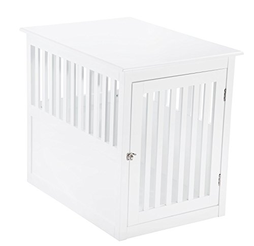 Pet Hup Hup Crate Table For Dog's Cat's Comfort Chest End Table (White Dog Cage)