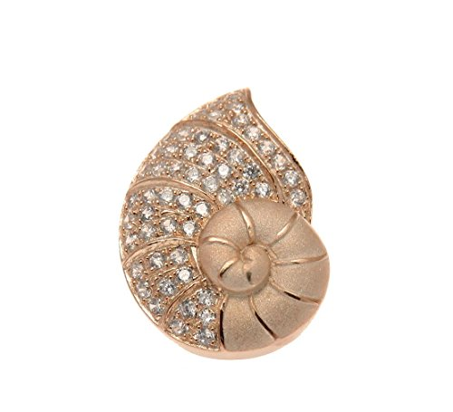 925 Sterling silver pink rose gold plated Hawaiian nautilus shell slide cz (Shell Sterling Silver Slide Pendant)