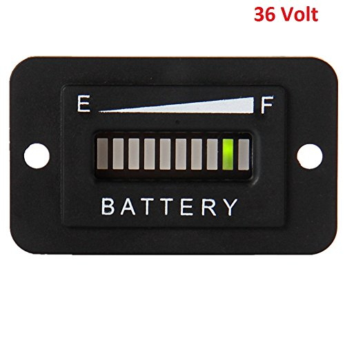 Searon 36v Volt LED Battery Status Charge Indicator Meter Gauge for EZGO ClubCar Yamaha Golf (36 Volt Battery Meter)