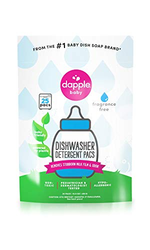 DAPPLE Baby Dishwasher Pacs, Fragrance Free, Sulfate-Free, Hypoallergenic, 25 Count (Pack of 1)