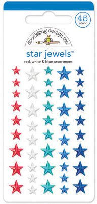 Stars & Stripes Adhesive Jewels-Star/Red, White & Blue 1 pcs sku# 1775940MA