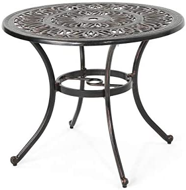 Christopher Knight Home Jamie Outdoor Round Cast Aluminum Dining Table, Shiny Copper