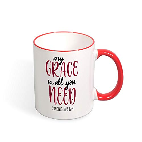 (DKISEE My Grace Is All You Need Color Coffee Mug Novelty 11oz Ceramic Mug Cup Birthday Christmas Anniversary Gag Gifts Idea - Red)