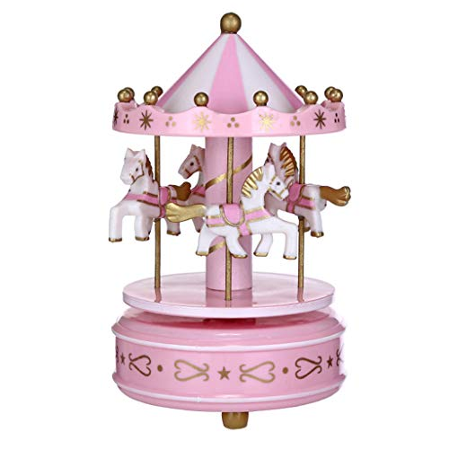 (Ouniman Music Box for Carousel Laxury Carousel Music Box, Merchandise Classic Musical Box 4-Horse Moving Up and Down Best Birthday Gift for Kids, Girls,Friends)