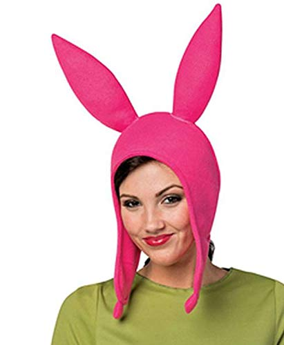 Lovely Louise Pink Ears Hat, Family Matching Halloween Costume Cosplay Rabbits Ear Fleece Cap Hat (Adult)