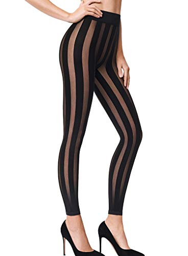 Wolford Victoria Striped Leggings-XSmall-Black (Wolford Leggings Footless)