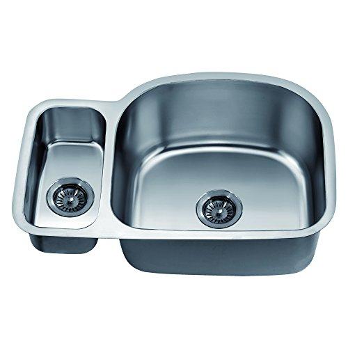 Satin Polished Double Bowl - Dawn ASU112L Undermount Double Bowl Sink, Polished Satin