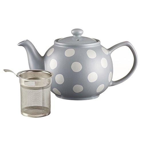 Price & Kensington Filter Stoneware Teapot, 37-Fluid Ounces, Silver Spot, Gray