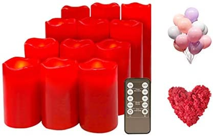Red Real Wax Moving Wick Flameless LED Votive Candle Lights Flickering with 10-Key Remote, Dia.2.5 Red, Set of 12 50 Balloons 2200 Petals