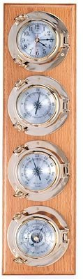 Clock, Barometer, Thermometer & Hygrometer Brass Porthole Weather Station on Oak Wood Base