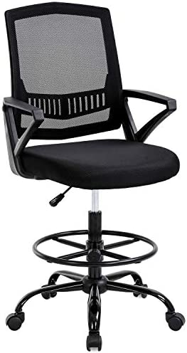 Mid Back Mesh Drafting Chair Office Chair Desk Chair Adjustable Height with Lumbar Support Flip Up Arms Rolling Swivel Computer Chair for Women Men Adults,Black