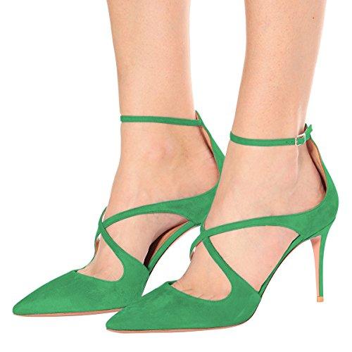 Fibbia Caviglia Pattini Aguzza Con Vestito Cinturino Punta Womemn Di Ydn Sandali Cinghie Verde Tallone Pompe HAqa6n0R
