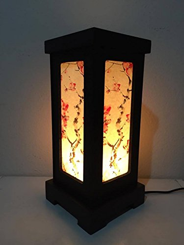 Thai Vintage Handmade Luxury Asian Oriental Japanese Sakura Flower Bedside Table Light or Floor Wood Paper Lamp Shades Home Bedroom Garden Decor Modern Design from Thailand by, Thai decorated Shop' by Thai Decorated