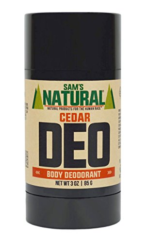Sam's Natural Deodorant Stick - Cedar, Aluminum Free, Vegan, Cruelty Free, 3 oz