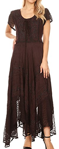 Sakkas 1322 Marigold Embroidered Fairy Dress - Chocolate - 1X/2X -
